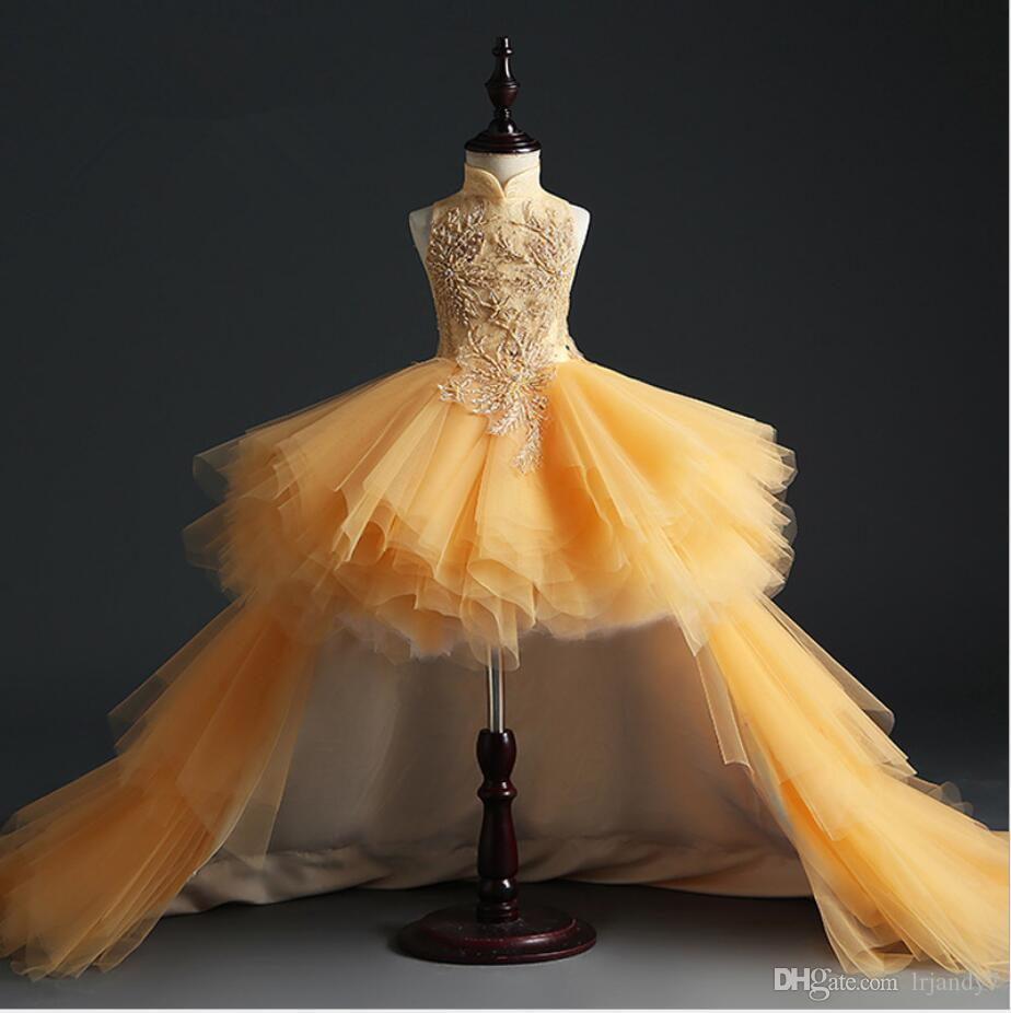 Pageant Gold Tulle Girl Birthday Party Dress Salut-Lo Sequin Perles Fleurs fille princesse robe Fluffy enfants robes première communion