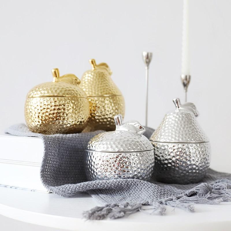 Creative Gold Pineapple Ceramic Sealing Jar Kitchen /Sugar/Spice Storage Tank MINI Jewelry Box Home Storage Decore for Gifts