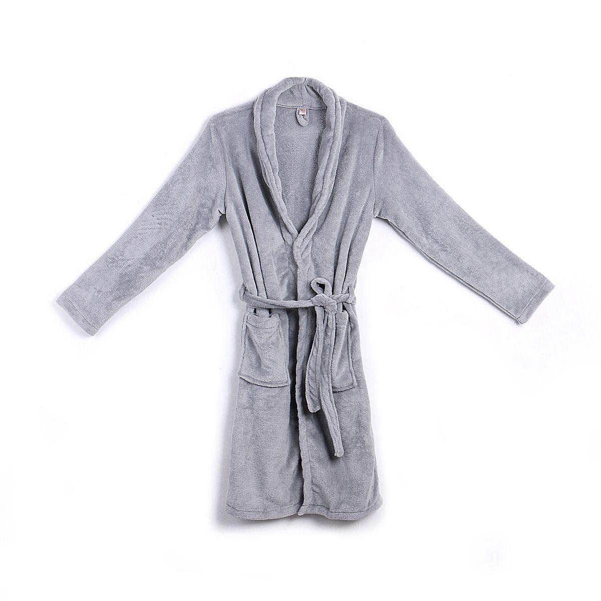Men/'s Long Sleepwear Robes Shawl Collar Coral Fleece Bathrobe Spa Pajamas Soft