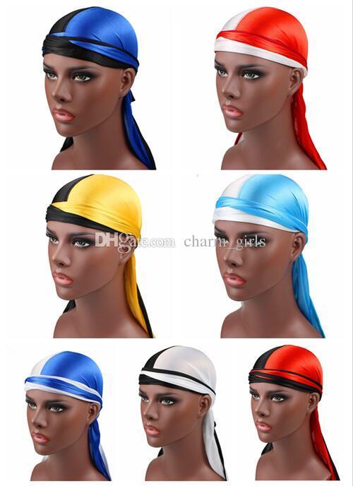 2019 nova moda de duas cores dos homens cetim Durags Bandana turbante perucas homens mulher Silky Durag Headwear pirata chapéu acessórios para o cabelo