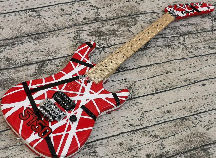 Aggiornamento Big Paletta Eddie Van Halen 5150 banda nera bianca rossa chitarra elettrica Floyd Rose Tremolo grano di bloccaggio, manico in acero Tastiera