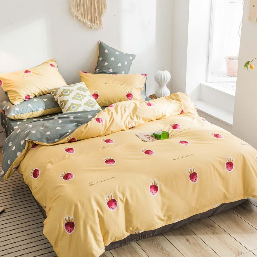 Svetanya Strawberry Bedding Set 100% Cotton Bedlinen Twin Single Double Queen King Size sheet Pillowcase Duvet Cover Sets