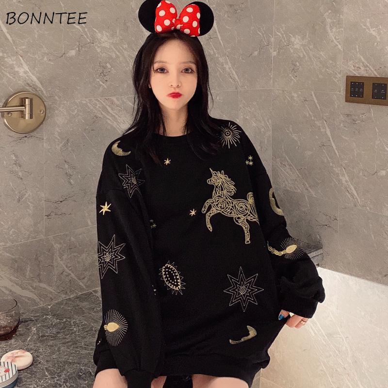 Hoodies Women Streetwear Elegant Loose Korean Style Girl Thin Printed Kawaii Simple Ulzzang Soft Womens Clothing Chic Casual