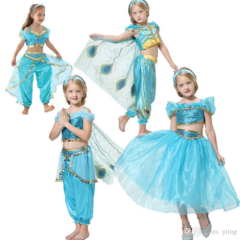 Tema do Dia das Bruxas Traje Princesa Princesa Roupas Infantil Jogar Fase Performance Skirt 4 estilos 100 a 150cm
