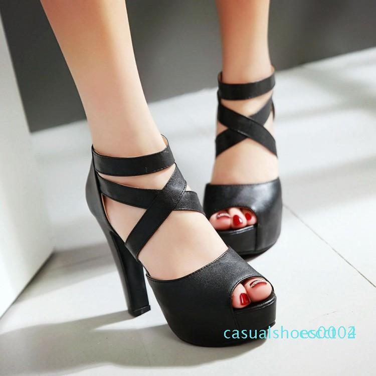 La venta caliente-Dama de honor atractiva de la plataforma de tacón alto de la Cruz de tiras de las sandalias de los zapatos extra más el tamaño 31 32 33 34 a 40 41 42 43 c02