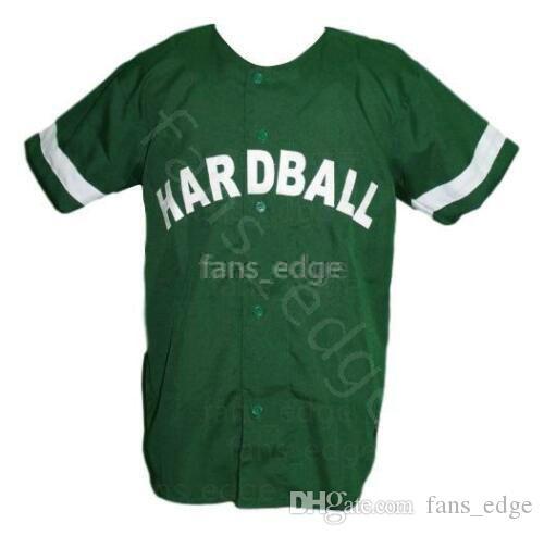 G-Baby Kekambas Hard Ball Movie Baseball Jersey Button Down Green Mens Stitched Jerseys Shirts Size S-XXXL Free Shipping 202