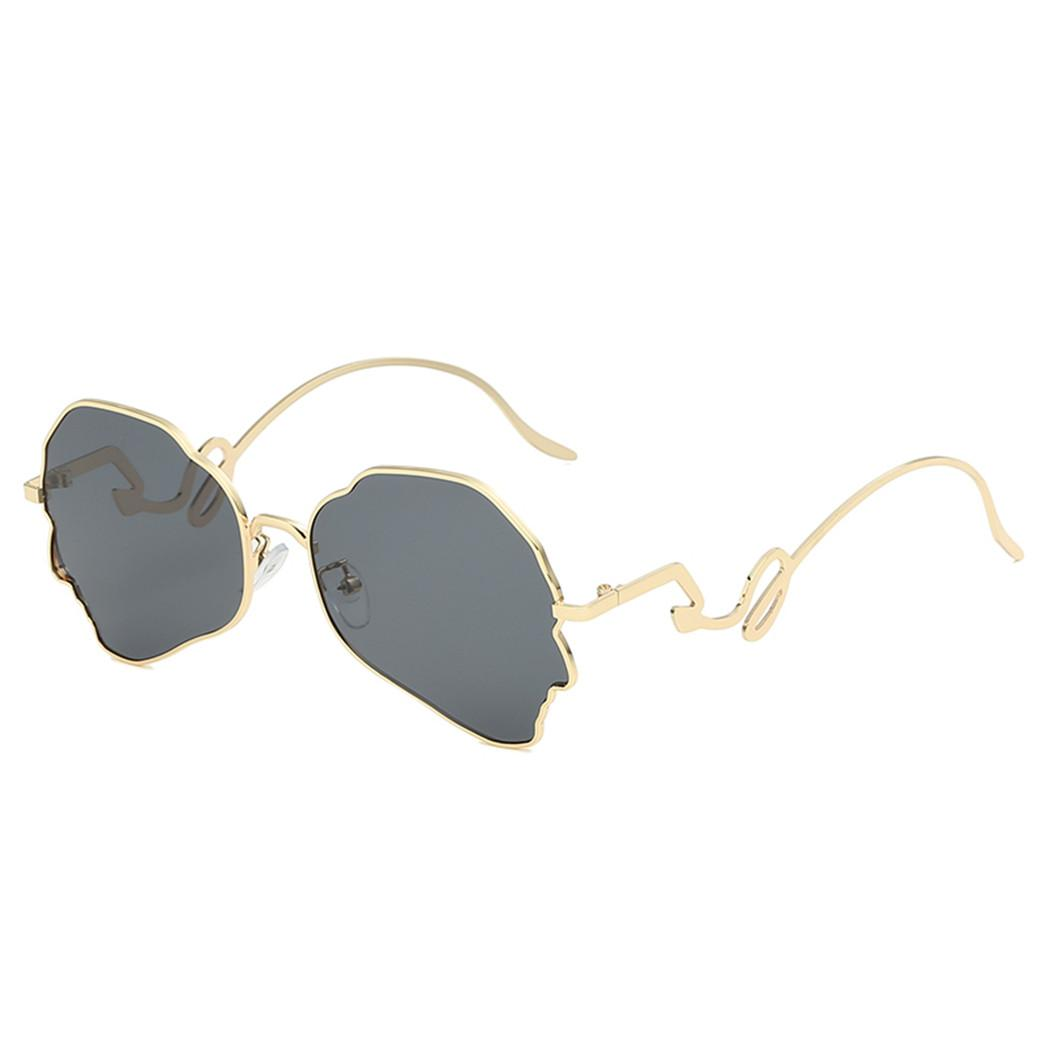 New Irregular Bending Sunglasses Women Men Fashion Metal Frame Personality Sun Glasses Vintage Brand Hip Hop Sunglasses Shades