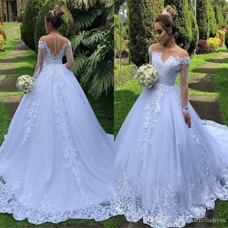 2020 Vintage Long Sleeve Puffy Wedding Dresses Western Garden A Line Sheer Off Shoulder Appliqued Ruched Long Bride Wedding Gowns