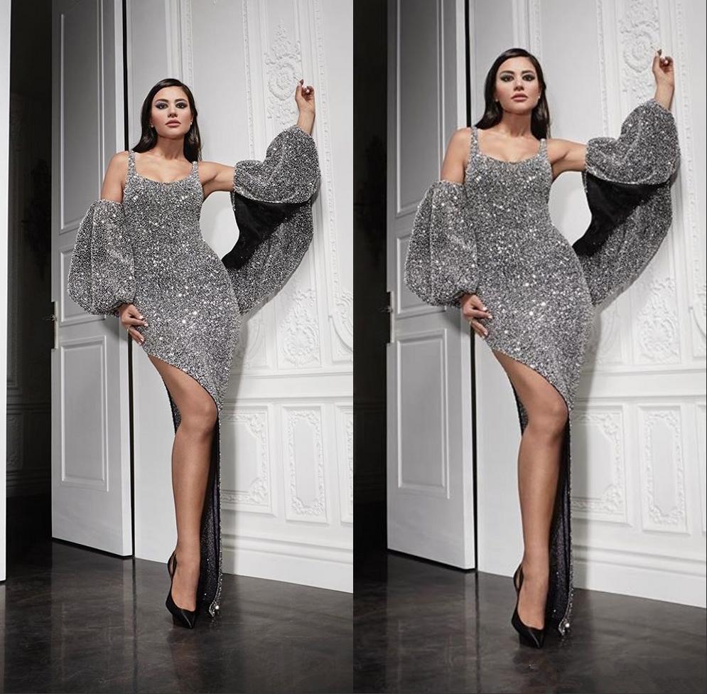 SIlver Arapça Dubai Denizkızı Akşam Formal Elbise Ortadoğu Bölünmüş Abiye Giyim Akşam Wear cübbesi de soiree Abendkleider elbiseler de soiree