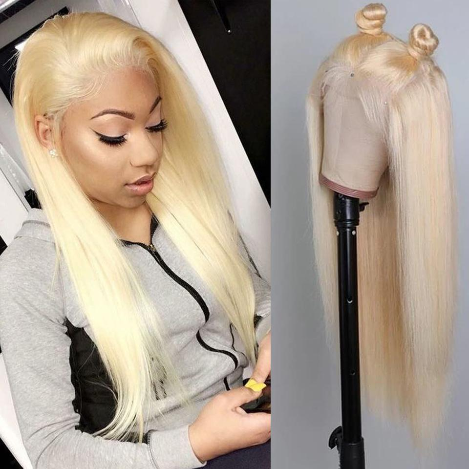 150% Density 13X4 Blonde Lace Front Human Hair Wigs With Transparent Lace Pre Plucked Straight Brazilian Remy 613 Lace Front Wig