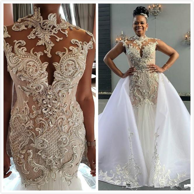 2020 Arabic Aso EBI Abiti da sposa lussuosi sirena in pizzo in rilievo cristalli abiti da sposa abiti da sposa vintage illusione abiti da sposa vetidos de dovia