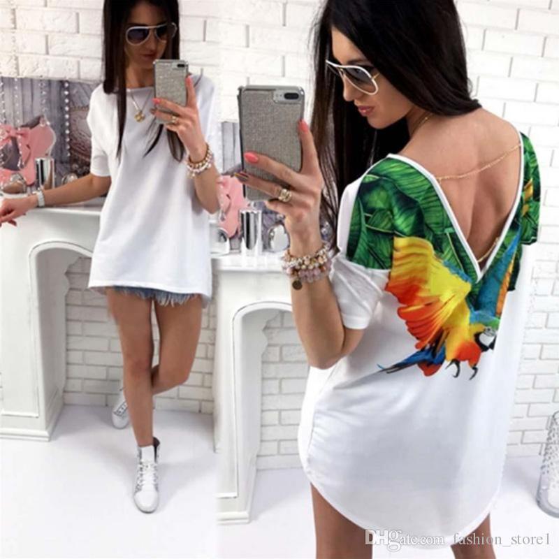 Sommer-Tops Sexy Gothic weiße T-Shirt-Kette Printed Grafik Casual T-Shirt Frauen-Schmetterlings-Papageien-Cat-T-Stücke Hemd