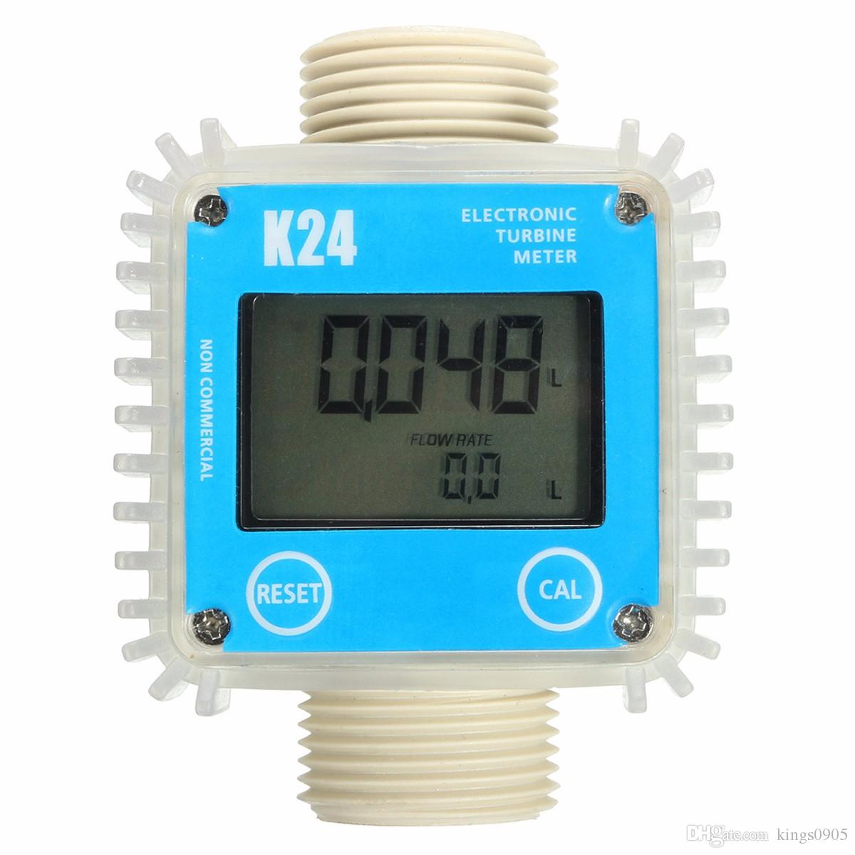 "Hot sale Fuel Flow Meter K24 1"" -Turbine- Digital -Diesel- Guage Counter For Chemicals Water 0.6MPa 10-120L/Min free shipping"