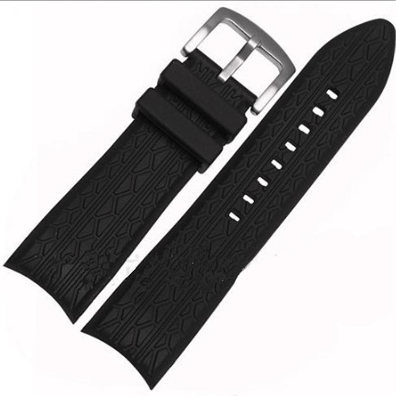 High-end 24 мм черный силиконовый ремешок для браслета дизайн p6612 ремешок для часов ремешки для часов ремень браслет замена ремня