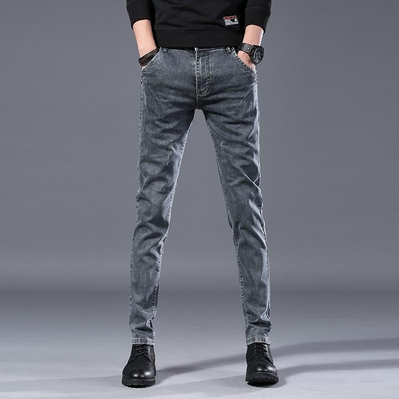 2019 Autumn New Men's Jeans Casual Business Cotton Stretch Slim Jeans Spring Elastic Straight Classic Denim Pants Trousers Male