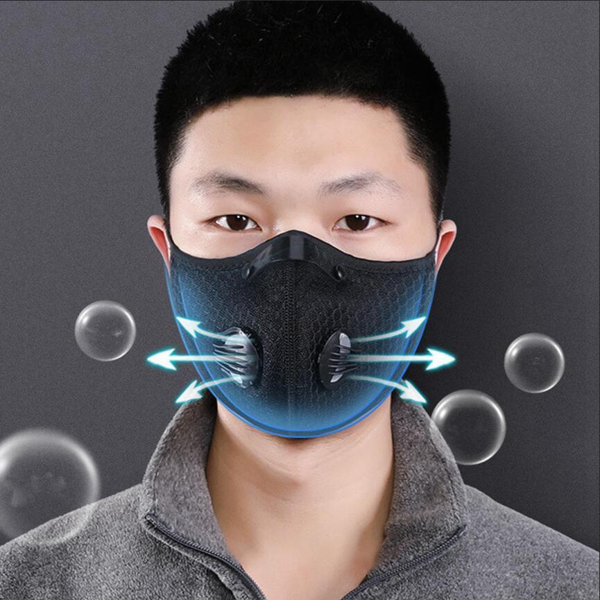 Сетка езда маски с пылевой крышкой велосипедной маски открытых защит для мужчин и женщин регулируемого респиратора маска LJJA4025