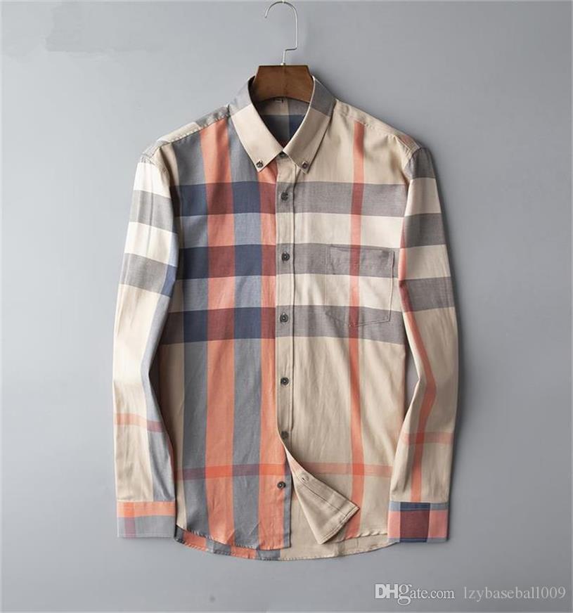 Minceur pour les chemises d'affaires décontractée pour hommes en gros hommes rayé à manches longues hommes en bonne santé sociale nouveau à la mode à carreaux chemise m-4XL # 402