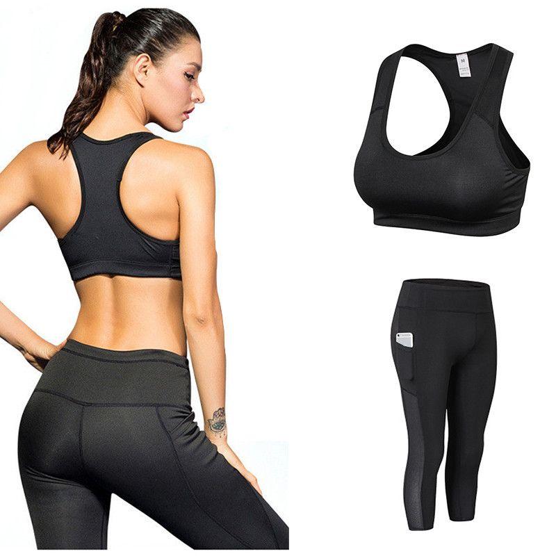 Women's Sportswear 3/4 Yoga Pants Set Mesh Tracksuit Fitness Gym Yoga Tops Sport Leggings Bra Sexy Ladies Fitness Gym Running Suit Clothes