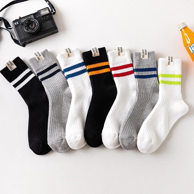Мода и случайная Новые носки осень зима улица ткань этикетка два столбика мужских носки спортивных толстый стиля случайных мужских полосатые хлопковые носки