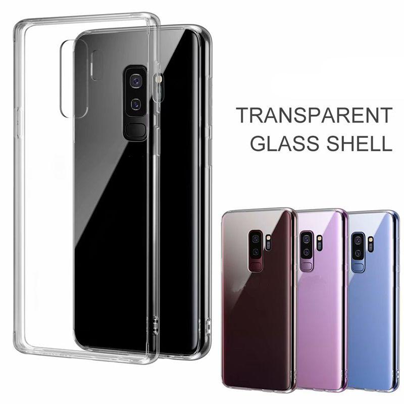 삼성 갤럭시 노트 8 9 S8 S9 플러스에 대 한 전화 케이스 투명 유리 뒤 표지 소프트 TPU 테두리