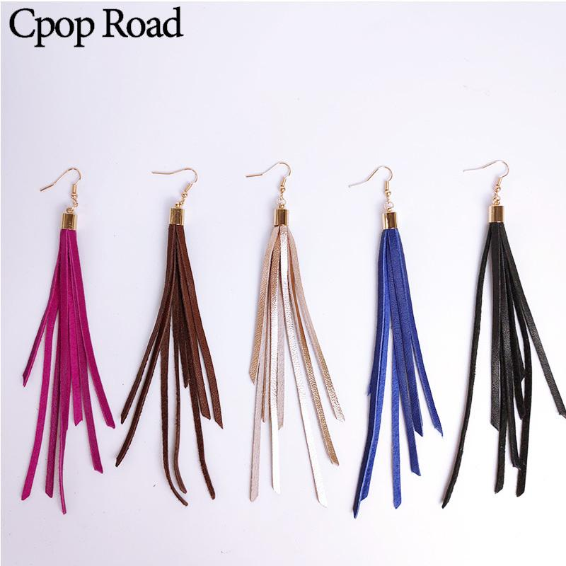 Cpop New Genuine Sheep Leather Earrings for Women Colorful Long Tassel Earrings Fashion Jewelry Accessories Hot Sale Gift 2019