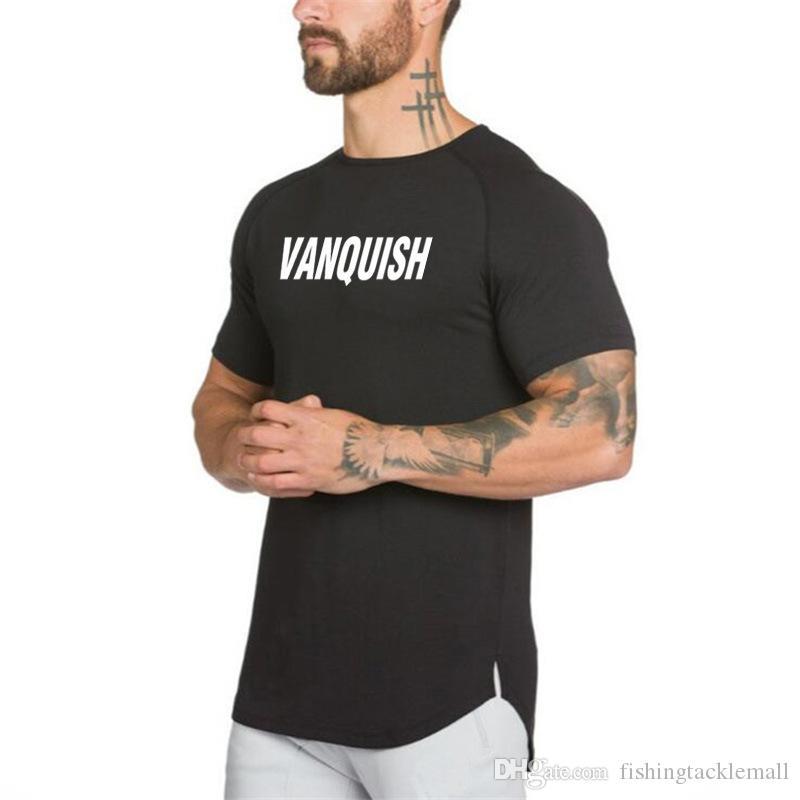 Alfabeto vendedor caliente impreso camiseta de la aptitud para el desgaste de los hombres de MaleSummer Nuevos deportes hombres de manga corta