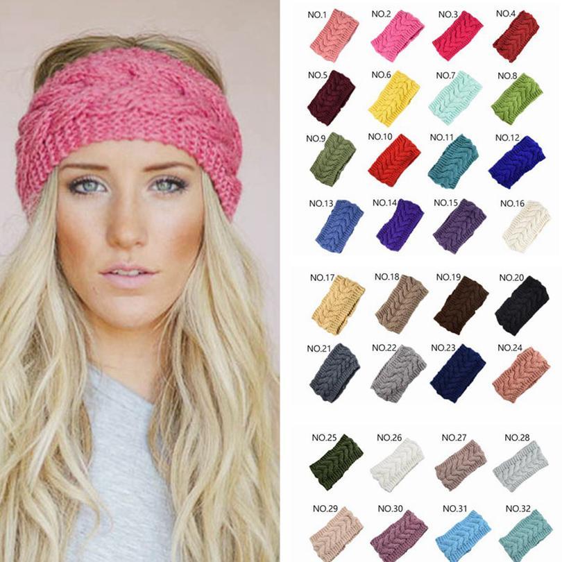 Faixa do cabelo Knit 32Colors Moda Crochet Headband Inverno Quente Lã Crochet hairband Meninas Headwrap Scarf Turban Cabelo Acessórios GGA3613-1