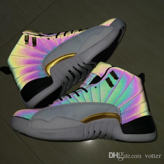 2019 Jumpman XII 12 12 s Bukalemun 3 M Işık Yansıtan Flaş Basketbol Ayakkabıları Erkekler için Yüksek Kaliteli Spor Atletik Sneaker Adam Eğitmenler 7-13