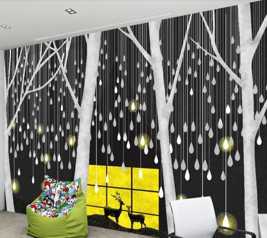CJSIR personnalisée Grand mur Peintre avec Nordic Minimaliste nuit Million gouttes d'arrière-plan lumière de Deer Forest Wallpaper Décor