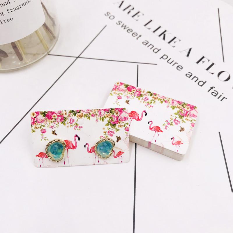 50PCS 3X5CM Earrings Jewelry White Paper Cards With Printing Stud Earring Making Diy Accessories Display Cards Favor Label Tag