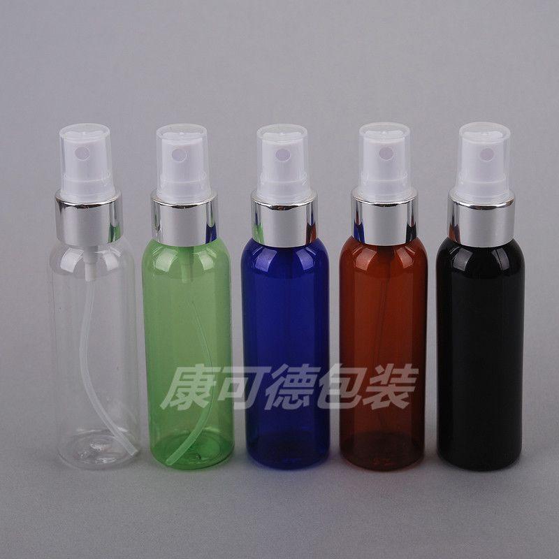 100pcs / lot gros 60ml transparent Electrochemical aluminium Vaporisateur avec un nébuliseur anodisée Buse de pulvérisation Bouteilles