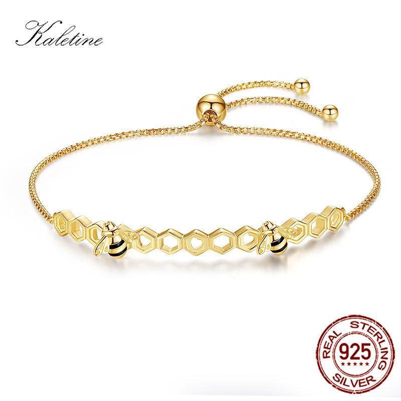 Kaletine Honig 925 Sterlingsilber-Armbänder buntes Herz Luxus, Liebe, Kamm Rose Gold Bee Schmuck für Mann-Frauen-Armband C19041001