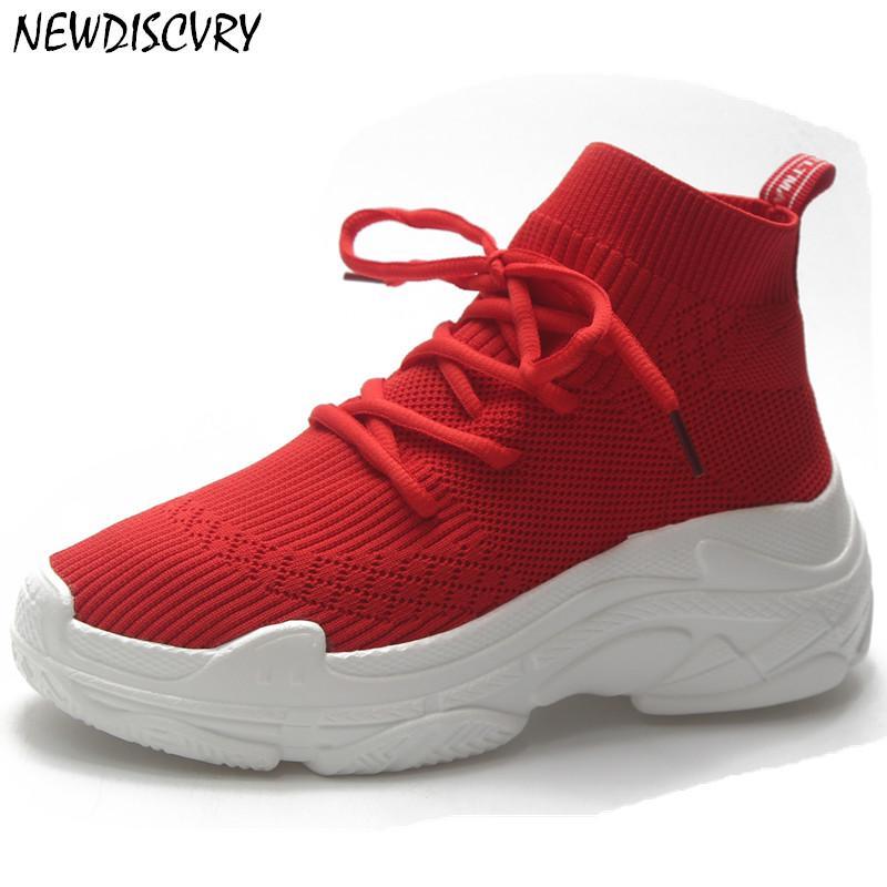 NEWDISCVRY traspirante piattaforma delle donne delle scarpe da tennis 2019 donne di estate adattano maglia di Chunky Sneaker signora Shoes Calzature