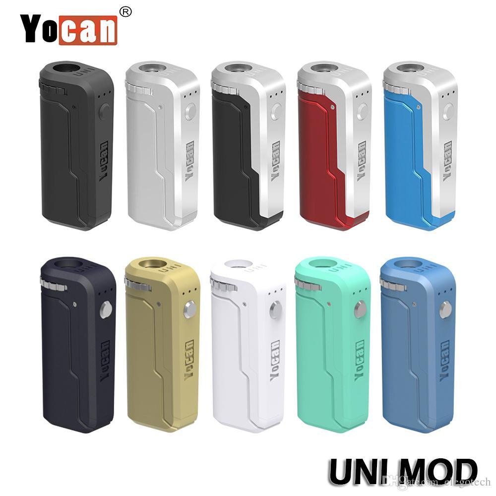 정통 YoCan Uni Mod 유니버설 박스 Mod 배터리 모든 카트리지 / 오일 분무기 예열 전압 조정 가능한 vape mod
