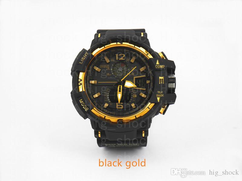 choque clássico Hot resistem Relógio de pulso dos homens marca modelo, LED Esporte dupla afixação GMT Digital reloj hombre militar do exército assistir relogio masculino