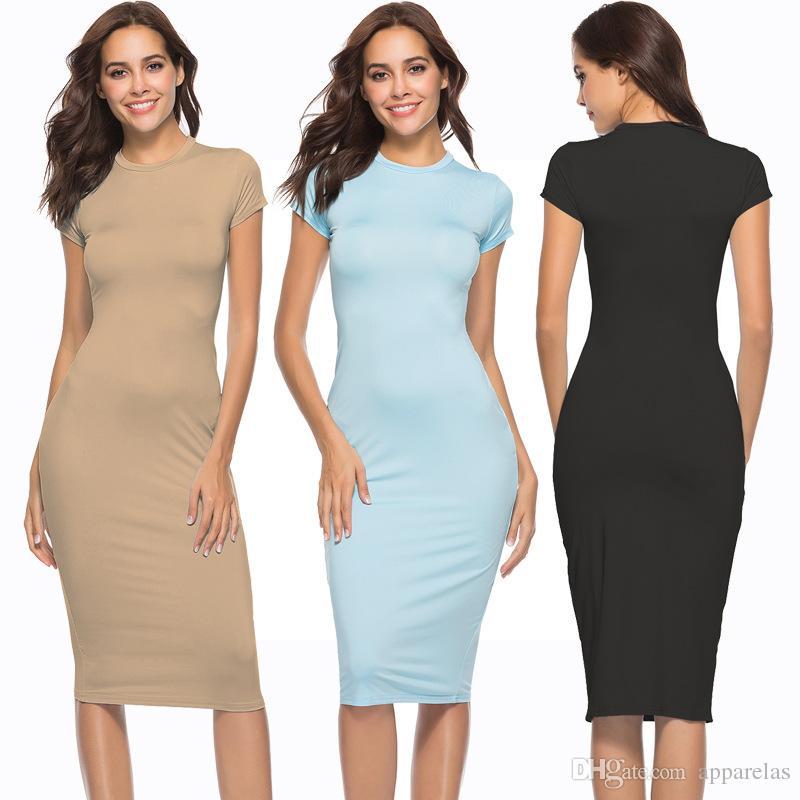 Yeni Patlayıcı Bandaj Elbise Kısa Kollu Seksi İnce Gece Kulübü Katı Renk Elbise