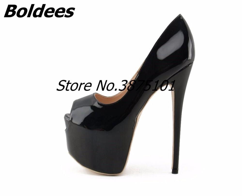 Boldees عارية براءات جلد النساء عالية الكعب مضخات 16CM زقزقة أخمص القدمين خنجر كعب الانزلاق على الأحذية منصة كبيرة لقطة حقيقية صور