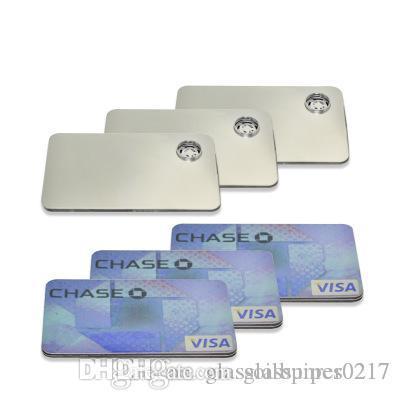 L'alta qualità della carta di credito all'ingrosso Pipe metallo per fumare Clicca Fun metallo Fit magnetico in tubi di vetro Portafoglio d'argento trasporto libero