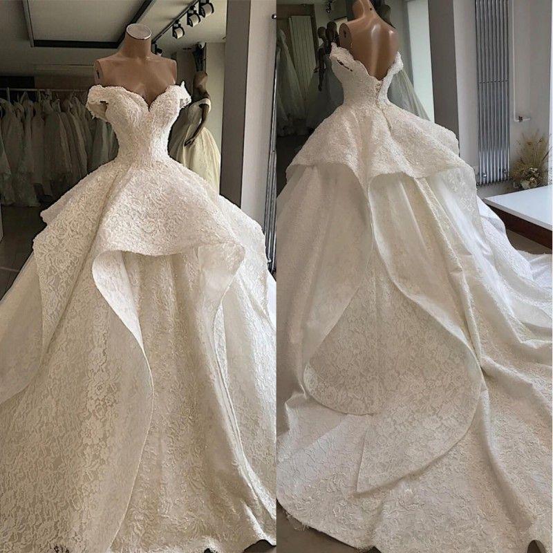 2020 Beautiful Ball Gown Cascading Ruffles Wedding Dresses Off Shoulder Plus Size Wedding Gowns Chapel Train Bridal Dress