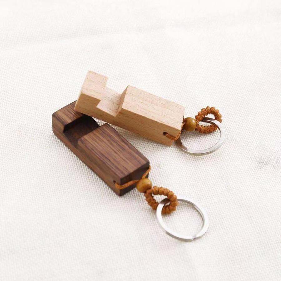 Madeira Keychain Phone Holder Retângulo Telefone celular de madeira Chaveiro Levante Melhor Base Key presente da corrente 2styles RRA2188