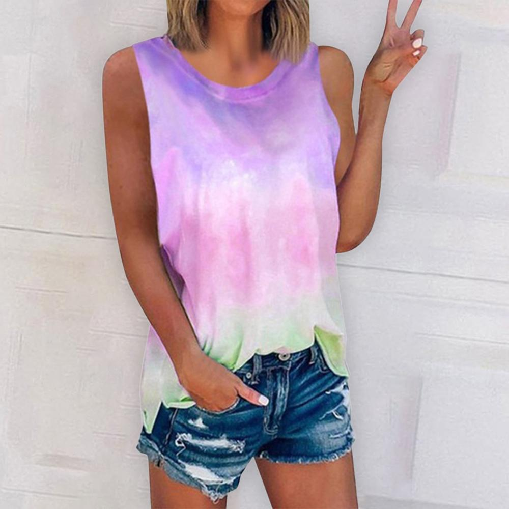 Plus Size S-5XL Tie Dye Women Summer Vest Tops 2020 Casual O-neck Sleeveless Gradient Tank Loose Women's Street Clothes Top