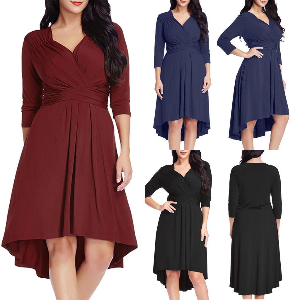 Nouveau Mode Printemps Eté Mode Womens Casual Plus Taille Plus Taille 3/4 Manches Cross V Cou Solide Swing Taille Robe Pour Femme