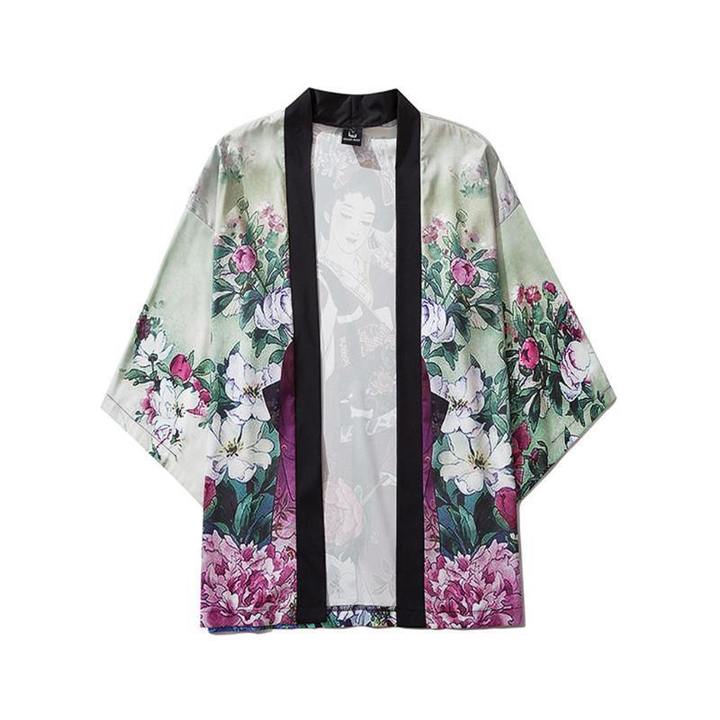 Летние мужские кимоно открытый фронт 3/4 рукав кардиган верхняя одежда пальто мода уличная короткие свободные мужские куртки повседневное пальто