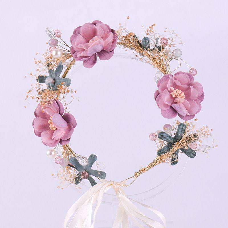 Kore Stili Yeni Mori Kadın Çiçek Headdress Saç Yüzük Pembe Çiçekler Dekorasyon Düğün Gelin Headdress Kurutulmuş