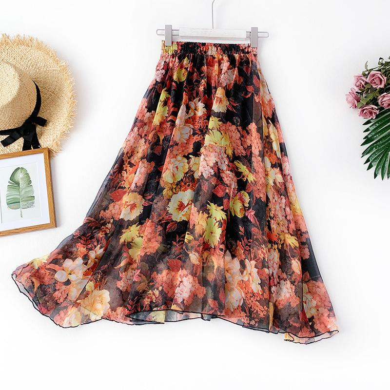Chinese Ink Oil Painting Printing Chiffon Half-body Skirt Thin Yarn Skirt Literature Will Pendulum Sandy Beach Skirt