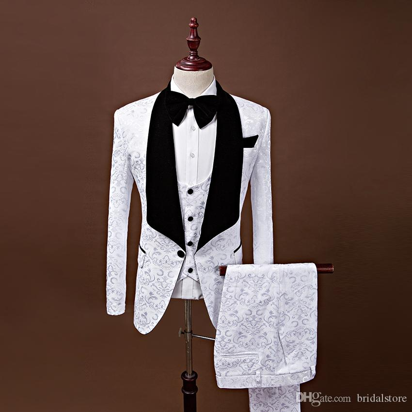 Latest White Wedding Groom Tuxedos For Prom Shawl Collar italian man shiny Jacquard Real Image Black Bow ties Groom Suits For Bestman 2019