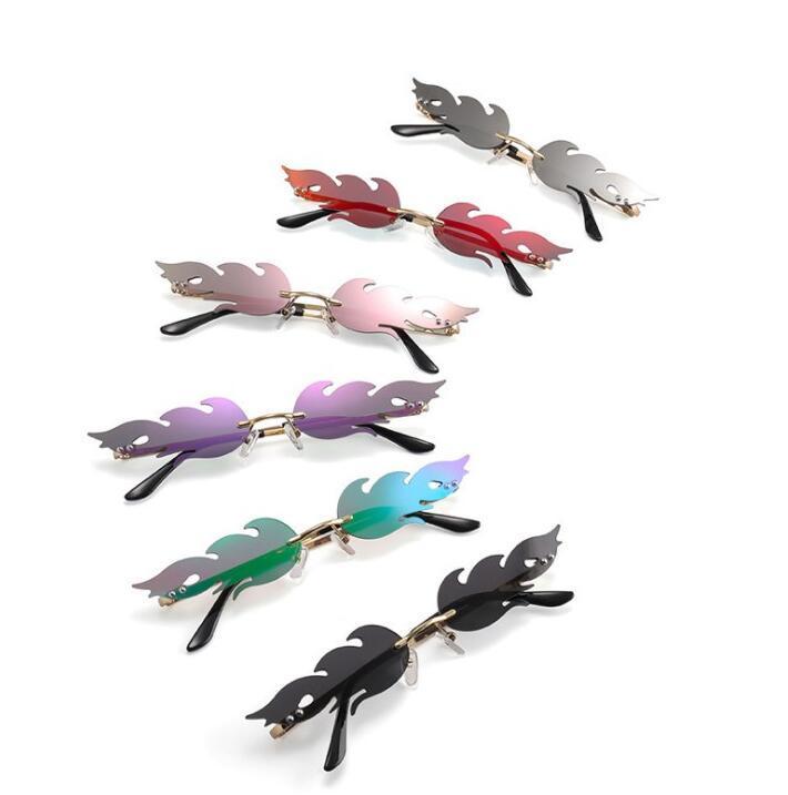 새로운 패션 명품 선글라스 화염 선글라스 남자 여자 비치 고글 안경 UV400 6 개 색상 우수한 품질 도매