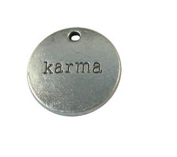 200 pcs Prata Karma Tibetano Palavra Rodada Encantos Pingentes Para Homens Moda Europeia Mulheres Jóias Colar Pulseira Brincos Acessórios