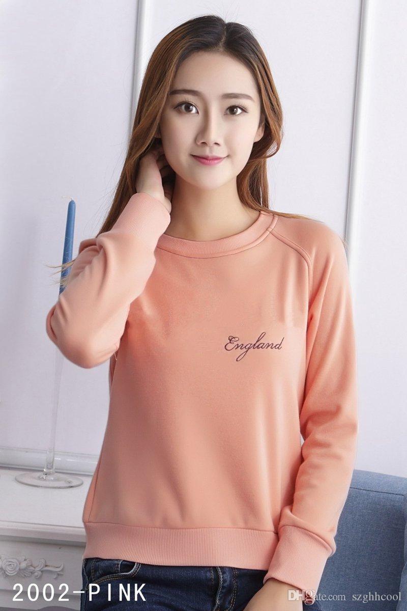 Die neue Art-beiläufige Art und Weise Letters Stickerei Frauen Designer-T-Shirts klassische Art und Weise Baumwolle Langarm-Designer-Hemd 4 Farben