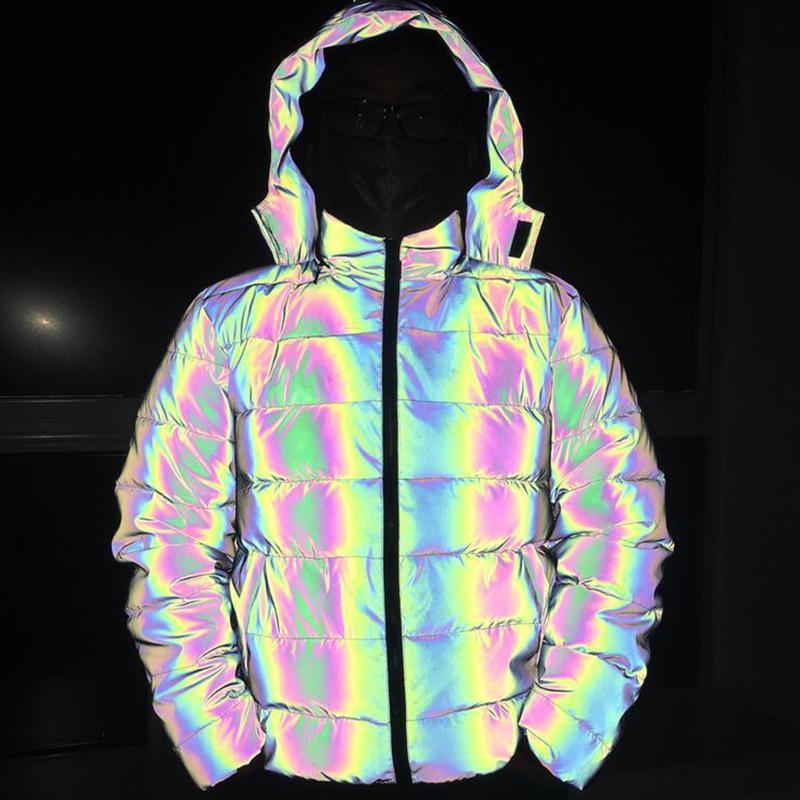 Destacável grossa solta brilhante inverno parka mulheres jaqueta longa reflexivas coat ocasional luminosa acolchoado hoodies streetwear quente